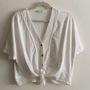 Zara white boxy and airy top